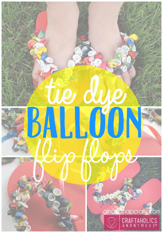 tie dye balloon flip flops