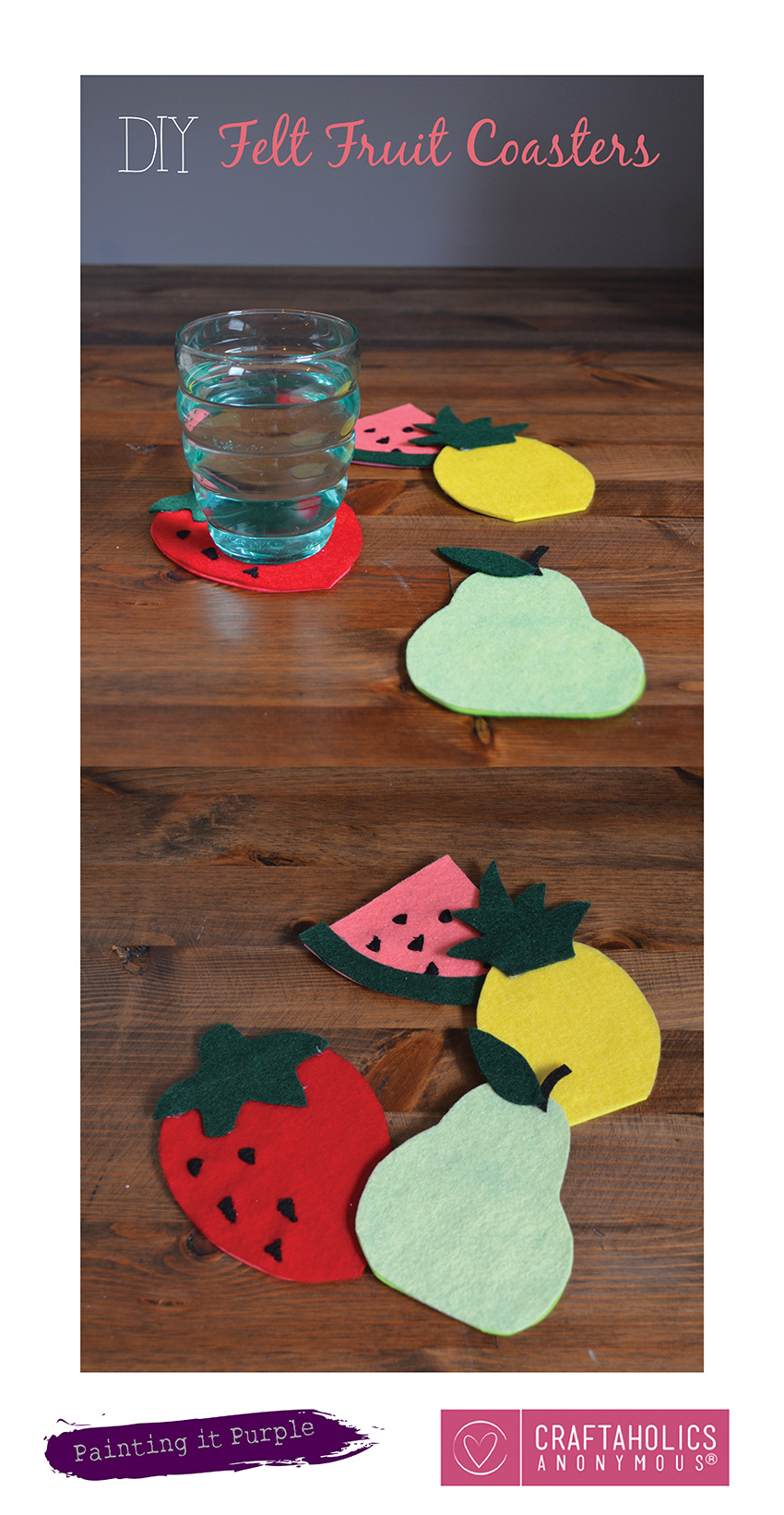 DIY Felt Fruit Coasters || Perfect summer craft!