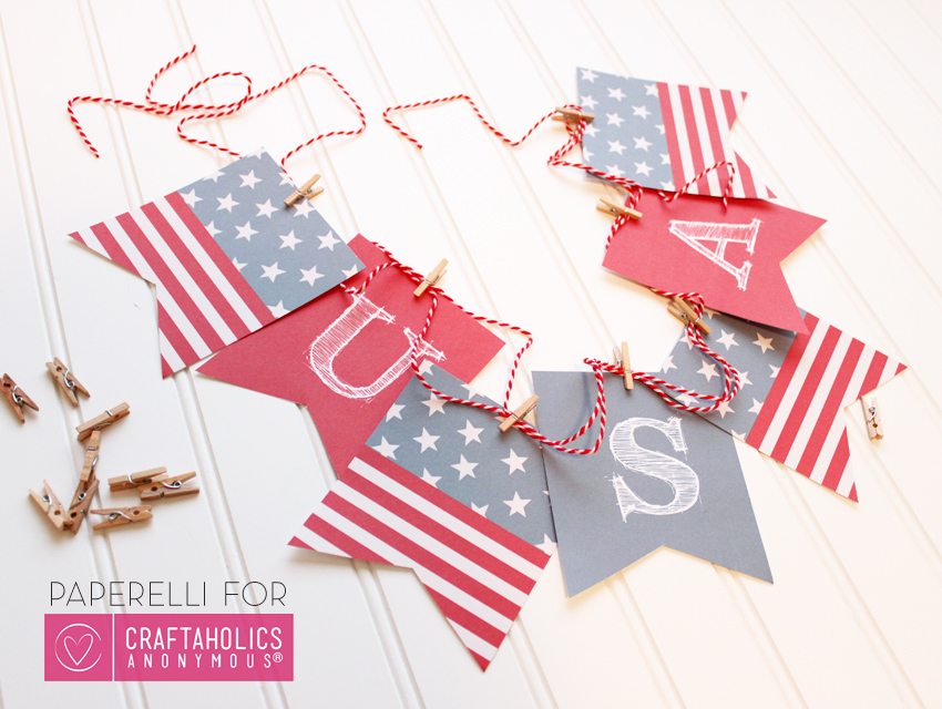 Patriotic Printable Banner by Paperelli | Craftaholics Anonymous
