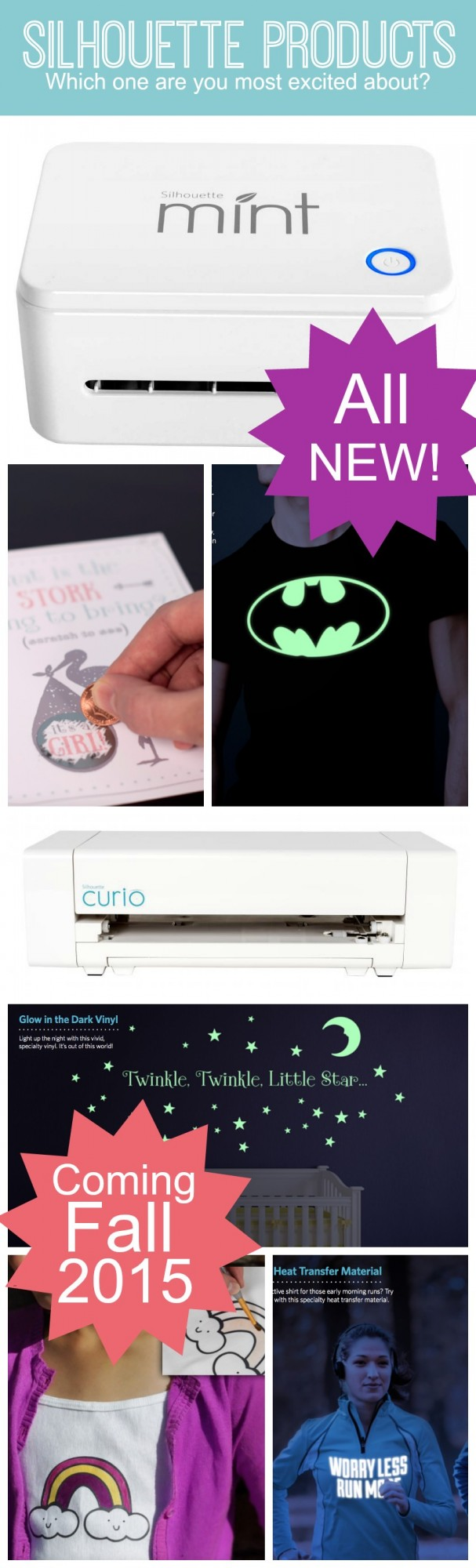 New Silhouette products to be excited about. Including the Silhouette Mint, Silhouette Curio, scratch off sheets, glow in the dark vinyl, etc. Click for all the details!