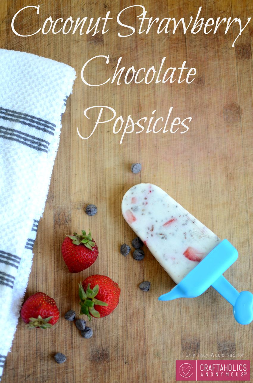 Coconut Strawberry Chocolate Popsicles | Craftaholics Anonymous®
