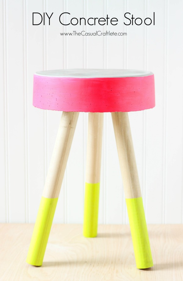 DIY-Concrete-Stool-easy-to-make-bucket-concrete-stool-for-just-5.-Add-fun-bright-patio-paint-for-pops-of-fresh-modern-color.-Perfect-for-an-outdoor-stool-or-plant-stand.