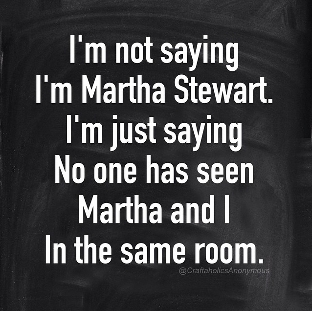 I'm not saying I'm Martha Stewart. I'm just saying no one has seen Martha and I in the same room. || Click for more funny craft memes.