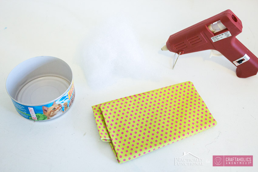 how to make a tin can pin cushion