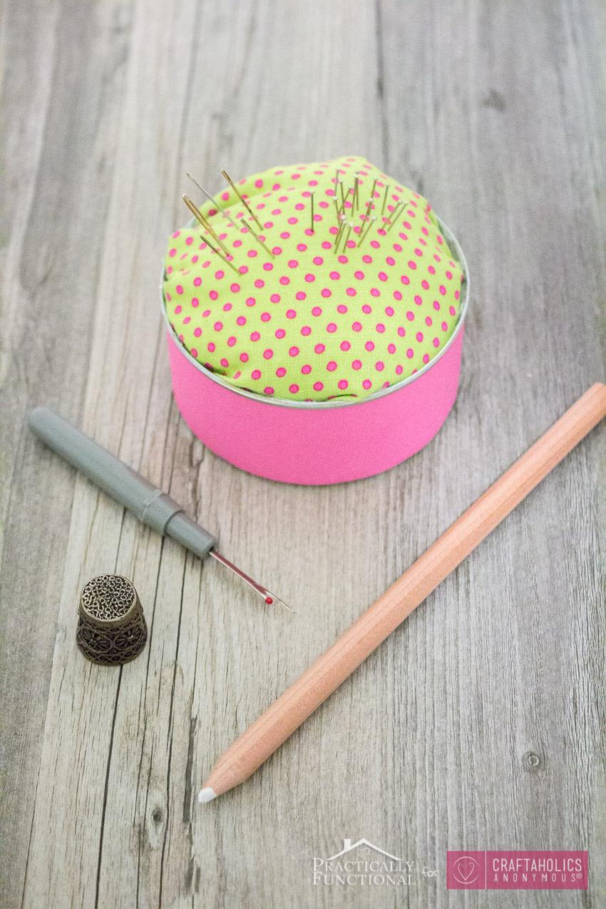 Turn A Tin Can Into A Pincushion