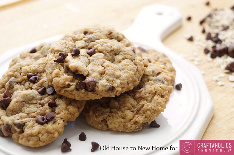 Easy Soft and Chewy Peanut Butter Oatmeal Chocolate Chip Cookies. No mixer required!