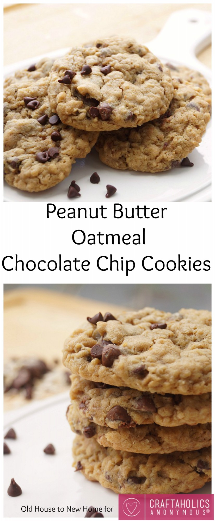 Soft and Chewy Peanut Butter Oatmeal Chocolate Chip Cookies