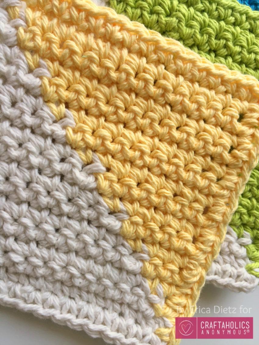 crocheted half square triangles