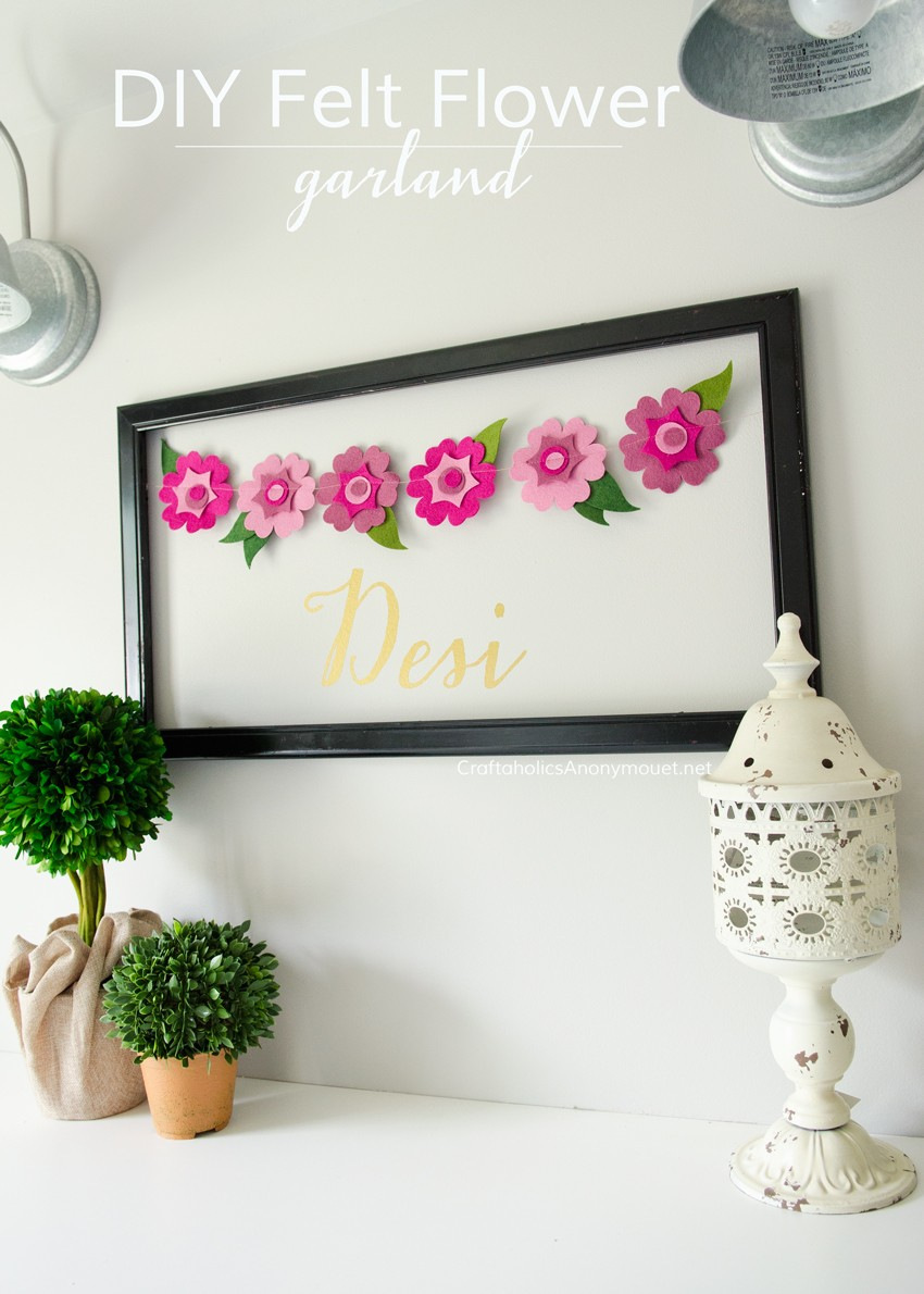 Pretty Felt Flower Garland with Personalized name frame