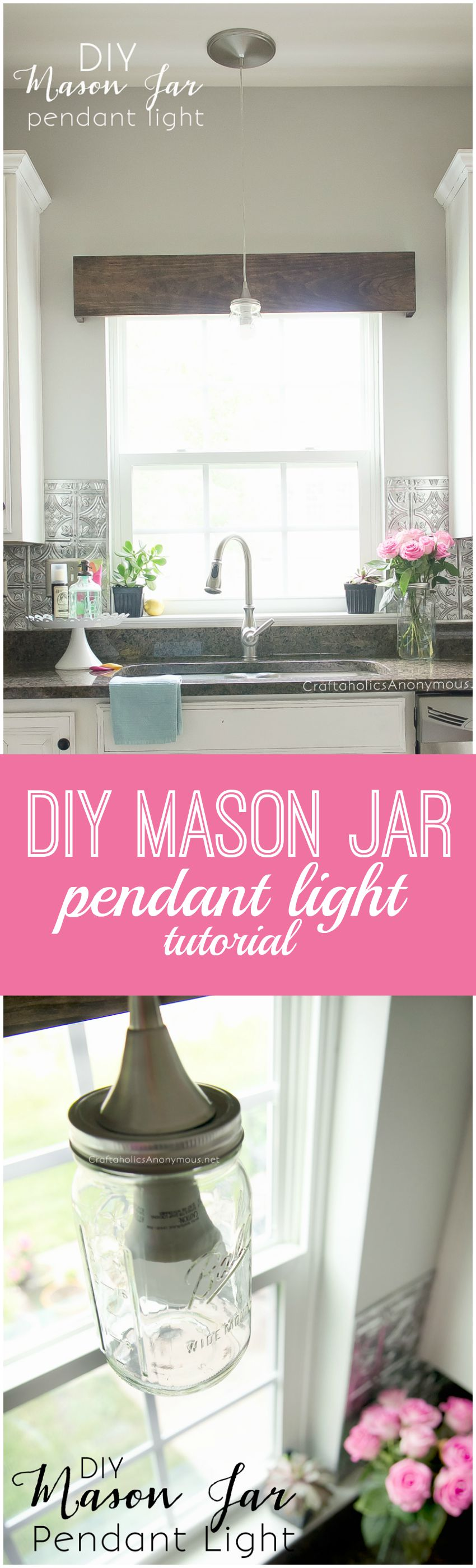 DIY mason jar pendant light tutorial || Quick easy way to turn a recessed light into a Mason Jar pendant in 20 mins! Costs about 20 dollars.