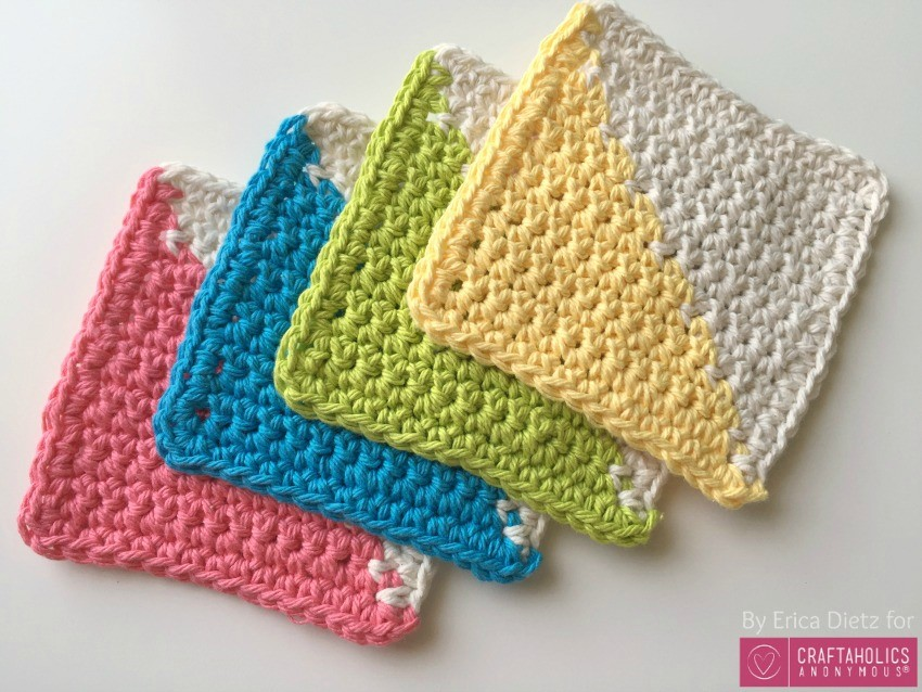 modern crocheted coasters