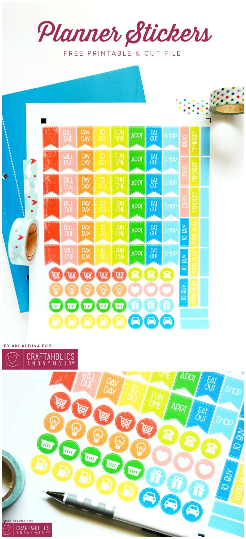 planner stickers collage