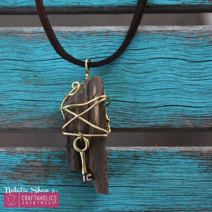 wire wrapped pendant necklaces rocks petrified wood gold leather (12)