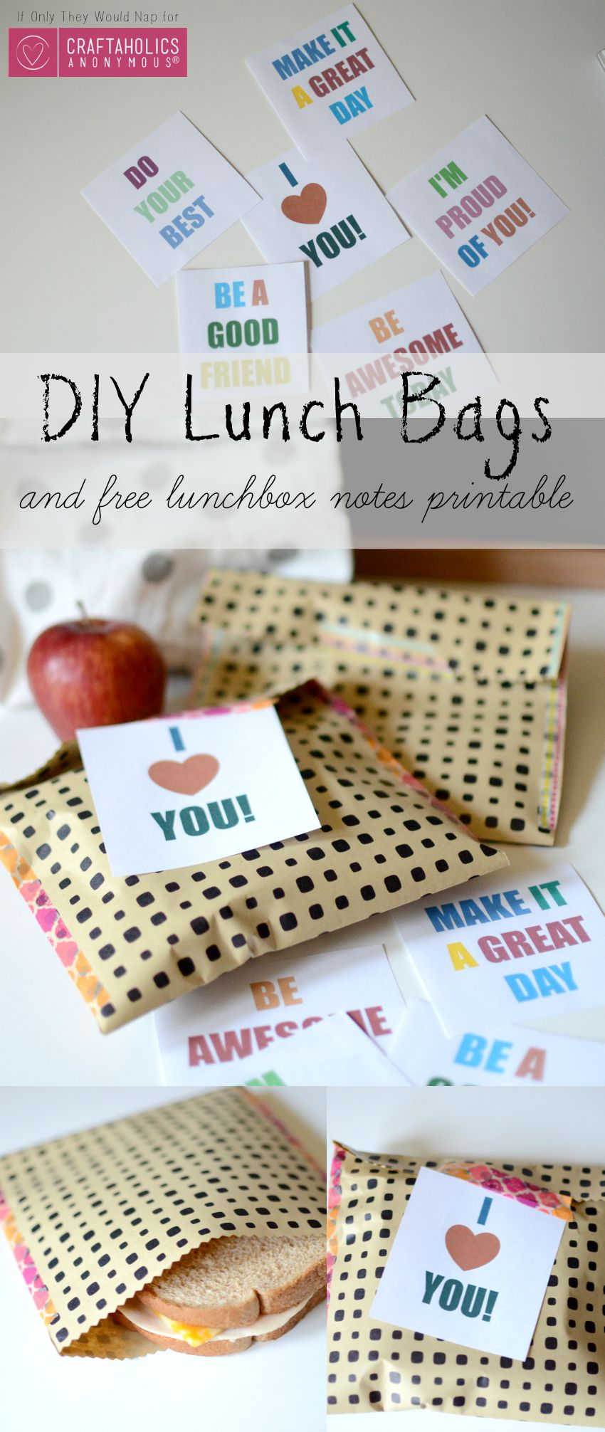 DIY Lunch Bags and free lunchbox notes printable 2