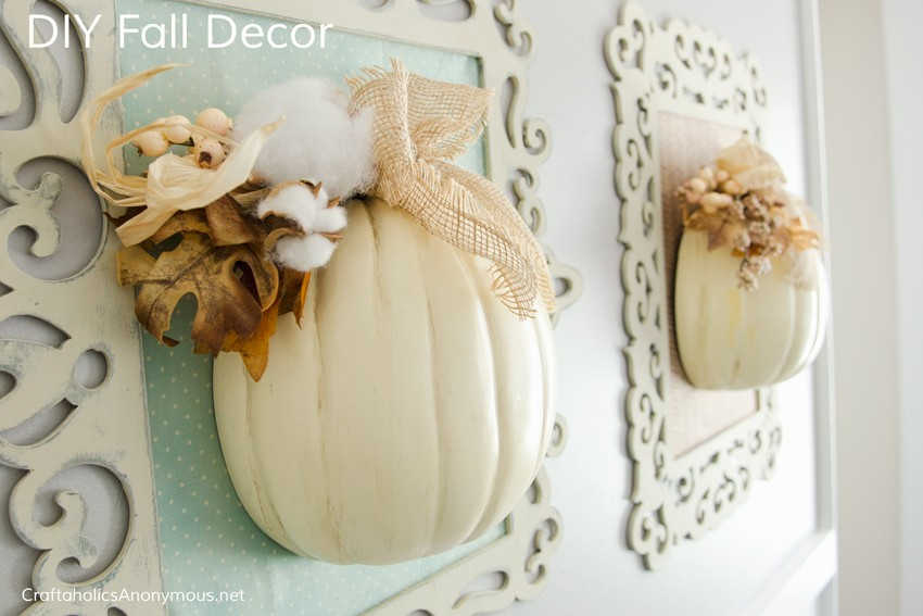 Fall Decor DIY || Love white pumpkins! This fall craft looks so easy, but so stunning.