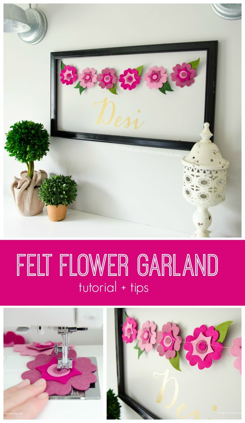 How to Make Felt Flower garland banner + tips and tricks. || includes a giveaway for a Cut N Boss die cutting tool!