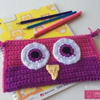Crocheted Owl Pencil Bag