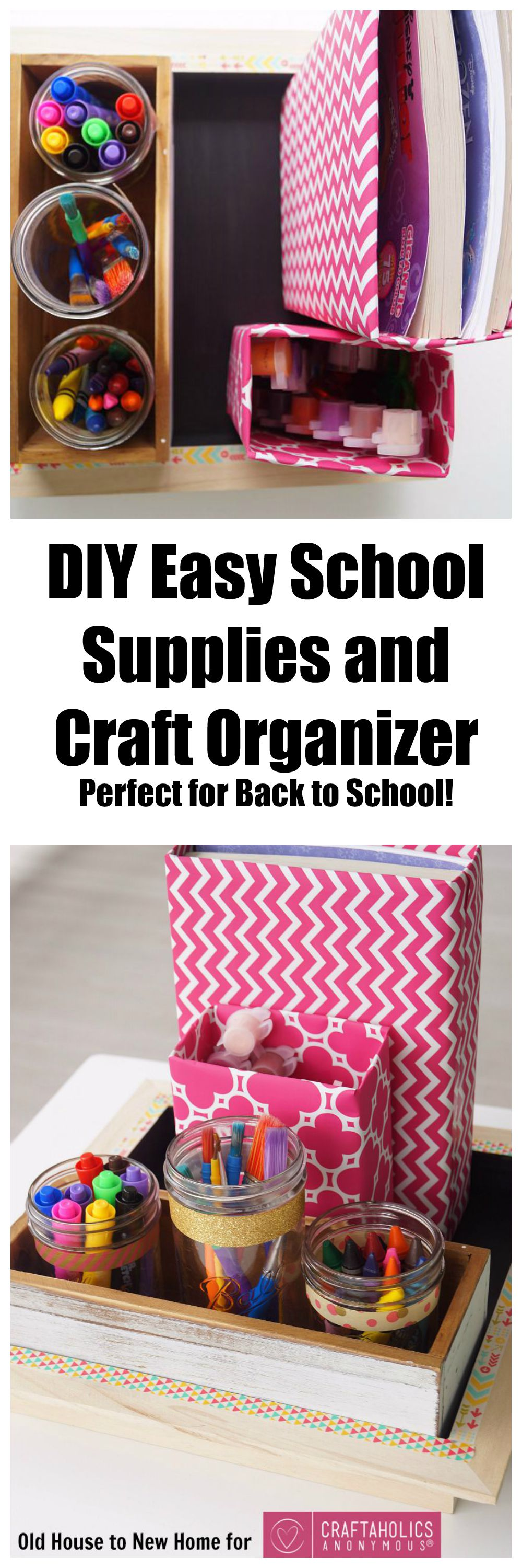 Easy DIY School Supplies Organizer. Perfect for craft  or art supplies too!  You won't believe how inexpensive and easy this is!