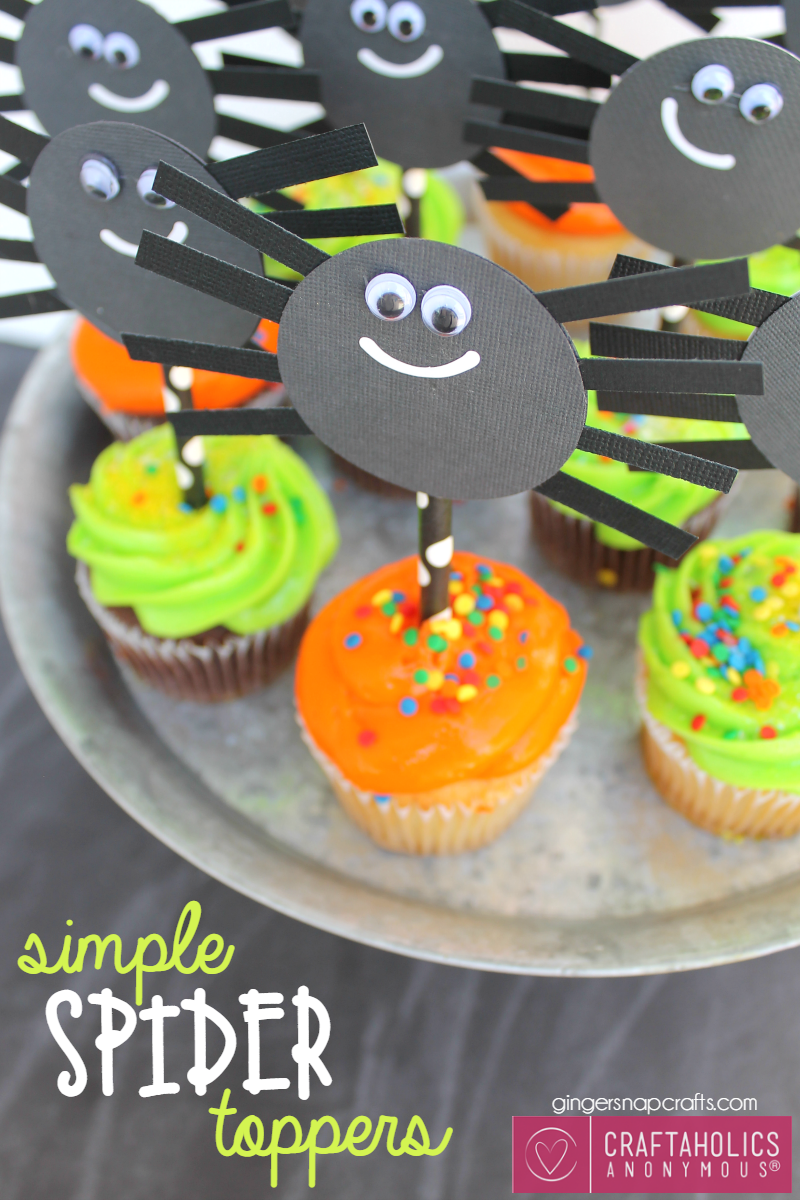 DIY Halloween Spider cupcake Toppers || This would be a great Halloween Craft for Kids! www.CraftaholicsAnonymous.net