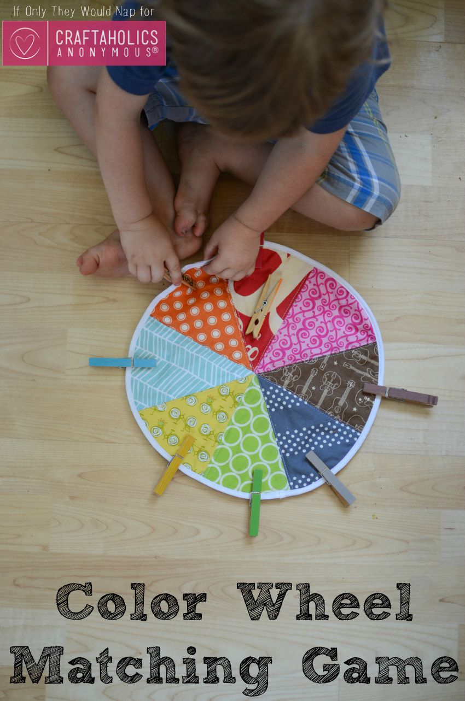 DIY Preschool Color Wheel Matching Game Tutorial on www.craftaholicsanonymous.net