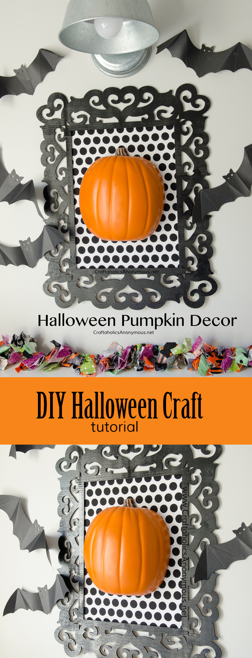 DIY Framed Halloween Pumpkin Decor craft idea || Could use a black and white damask fabric with a white pumpkin for a classic Halloween look