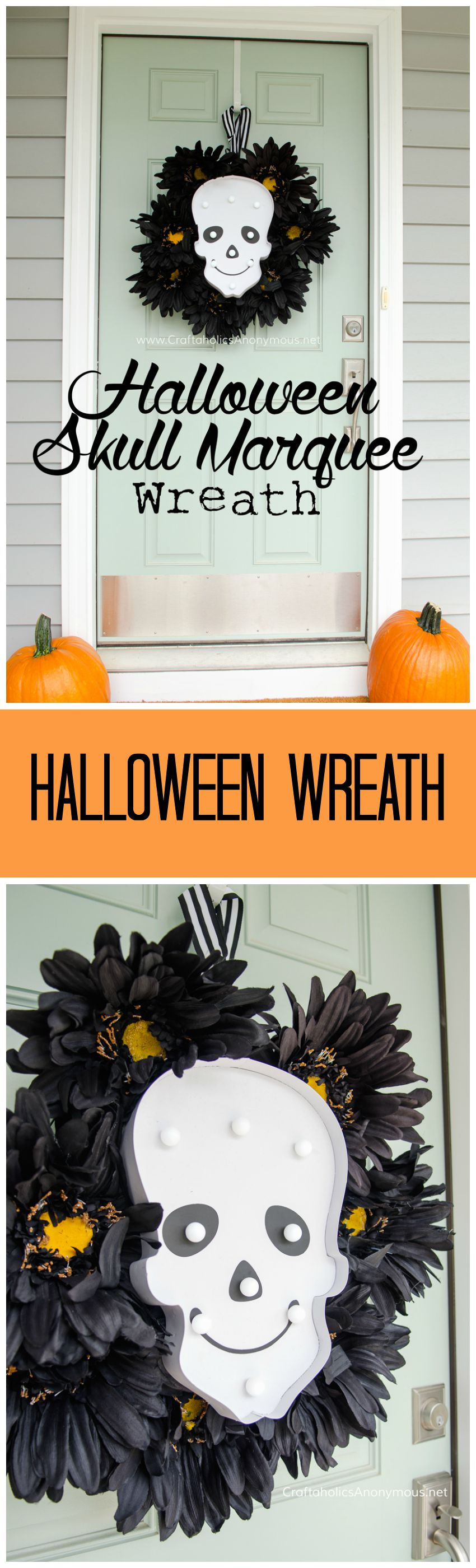 DIY Halloween Marquee Wreath Tutorial || Love that the lights turn on and glow in the dark.Perfect for Halloween night! found on www.CraftaholicsAnonymous.net