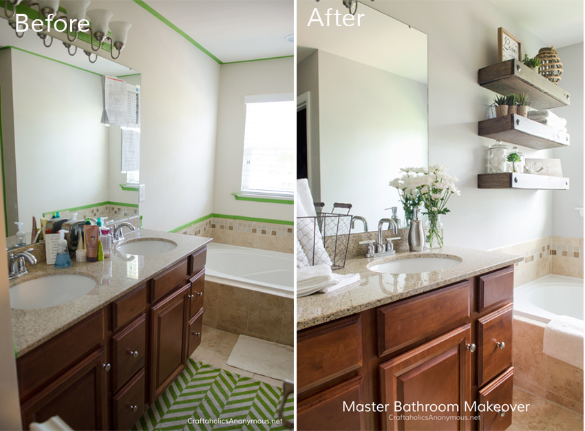 Master Bathroom Update Before and After. Love the floating shelves!