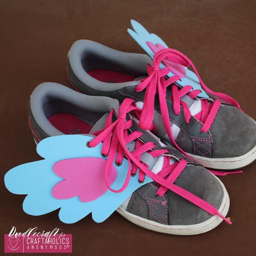 DIY pony shoe wings easy diy foam eyelets fabulous footwear my little pony on www.Craftaholicsanonymous.net