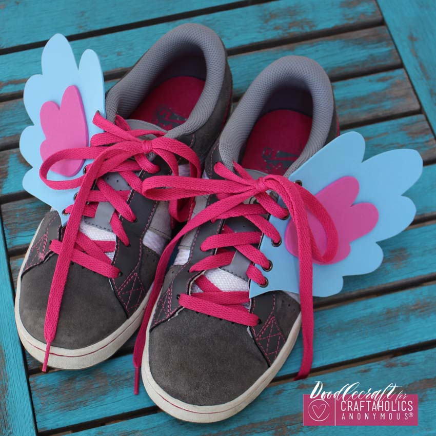 How to make My Little Pony Shoe Wings tutorial with Free Printable Pattern on www.CraftaholicsAnonymous.net
