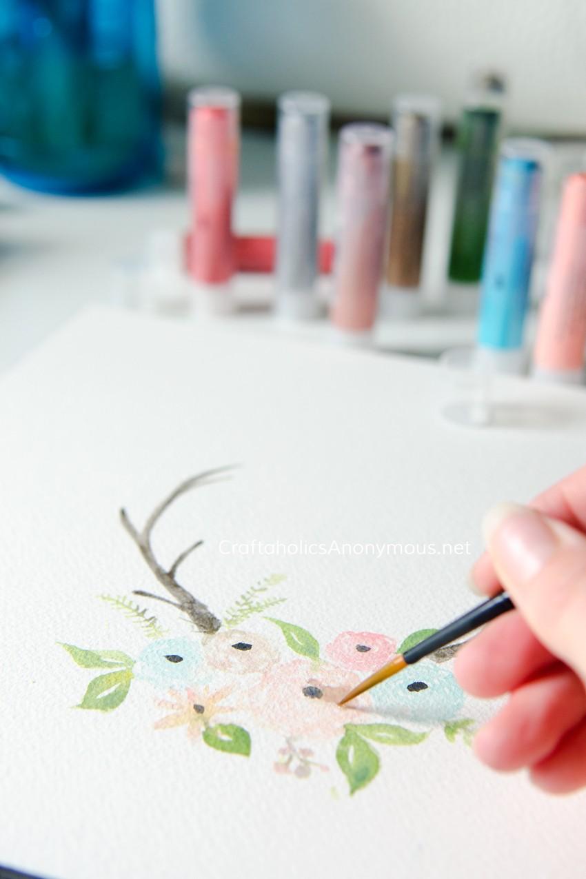 Watercolor Antlers with Flowers using Gelatos® pigments