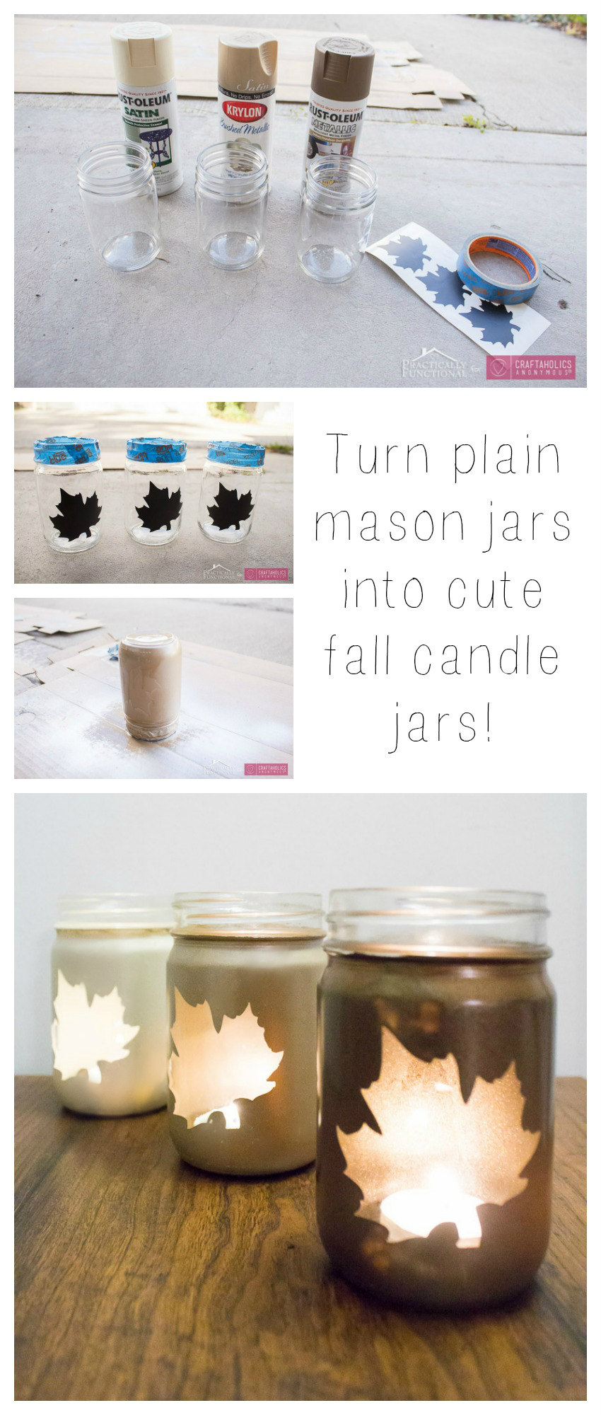 DIY Fall Leaf Mason Jar luminaries tutorial :: Simple ombre leaf luminaries add beautiful ambience to your fall decor!