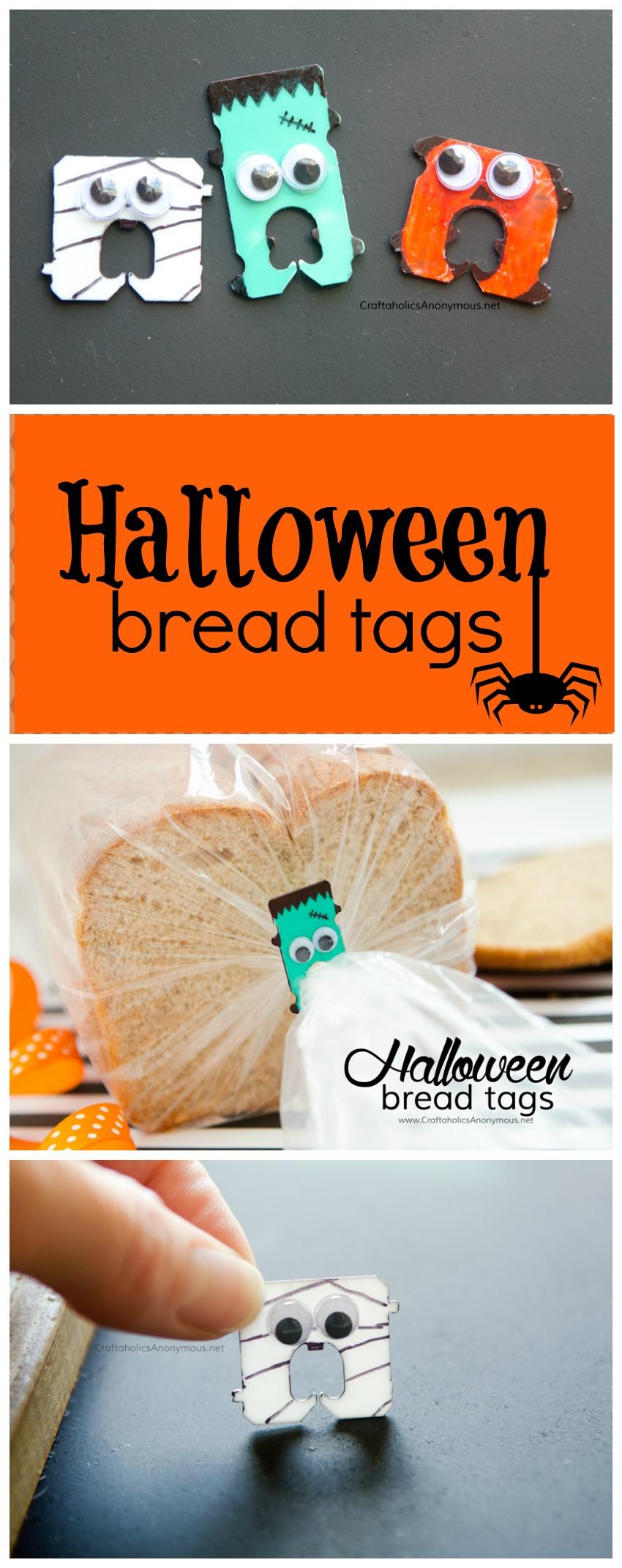 Halloween bread tags || Great Halloween craft for kids + reuse bread tabs