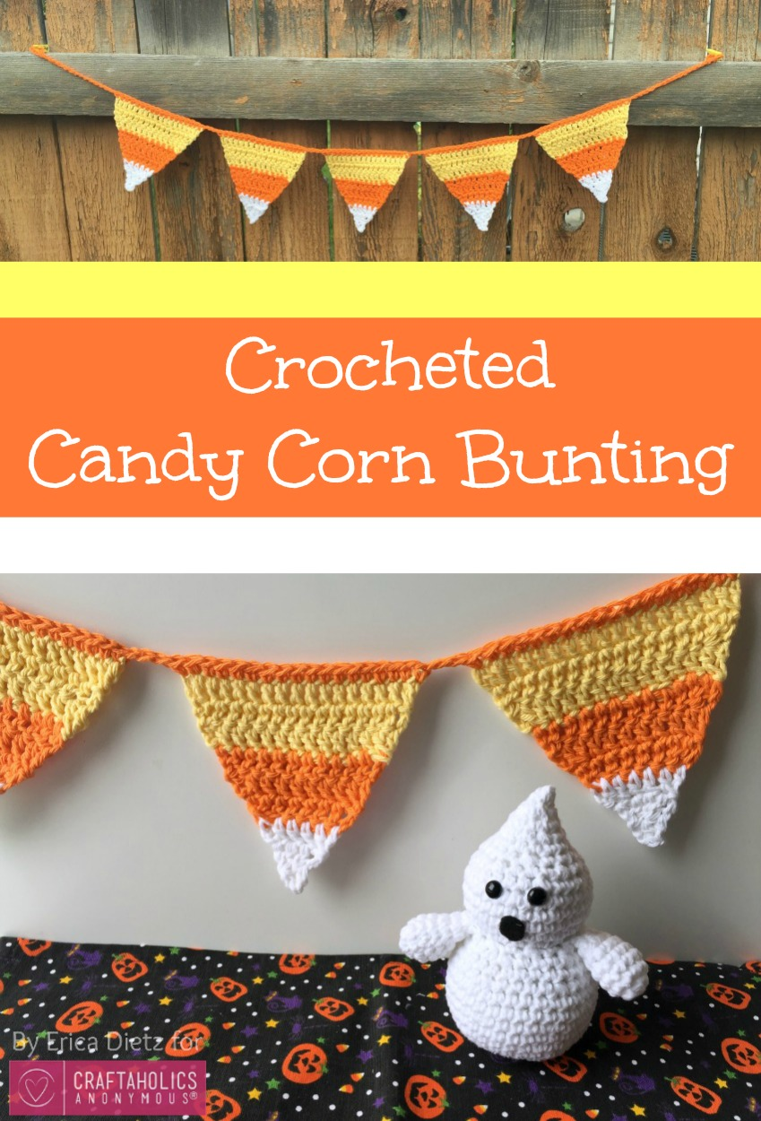 DIY Crocheted candy corn bunting Tutorial and Free Crochet Pattern for Halloween.