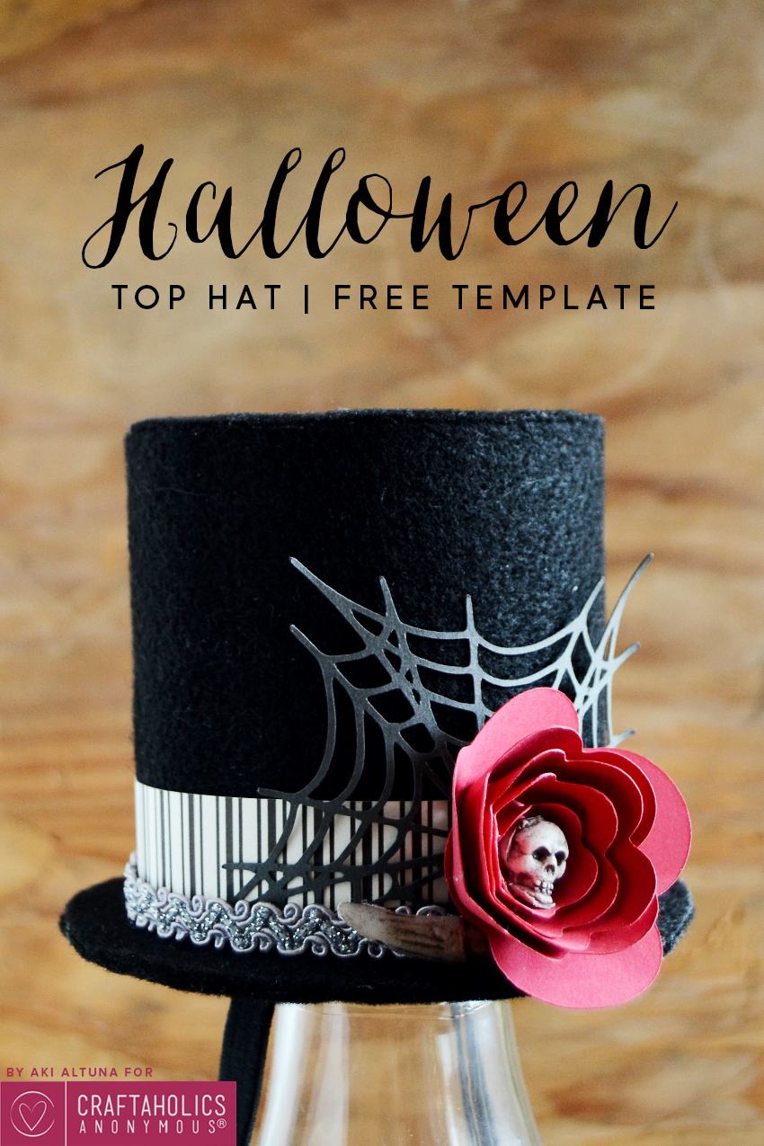 DIY Halloween Top Hat Tutorial with Free Template and Free SVG cut file.