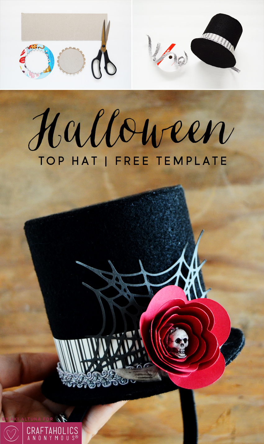 Halloween Top Hat Tutorial :: Make your own DIY hat for your costume this year! Free template download + Free SVG cut file.