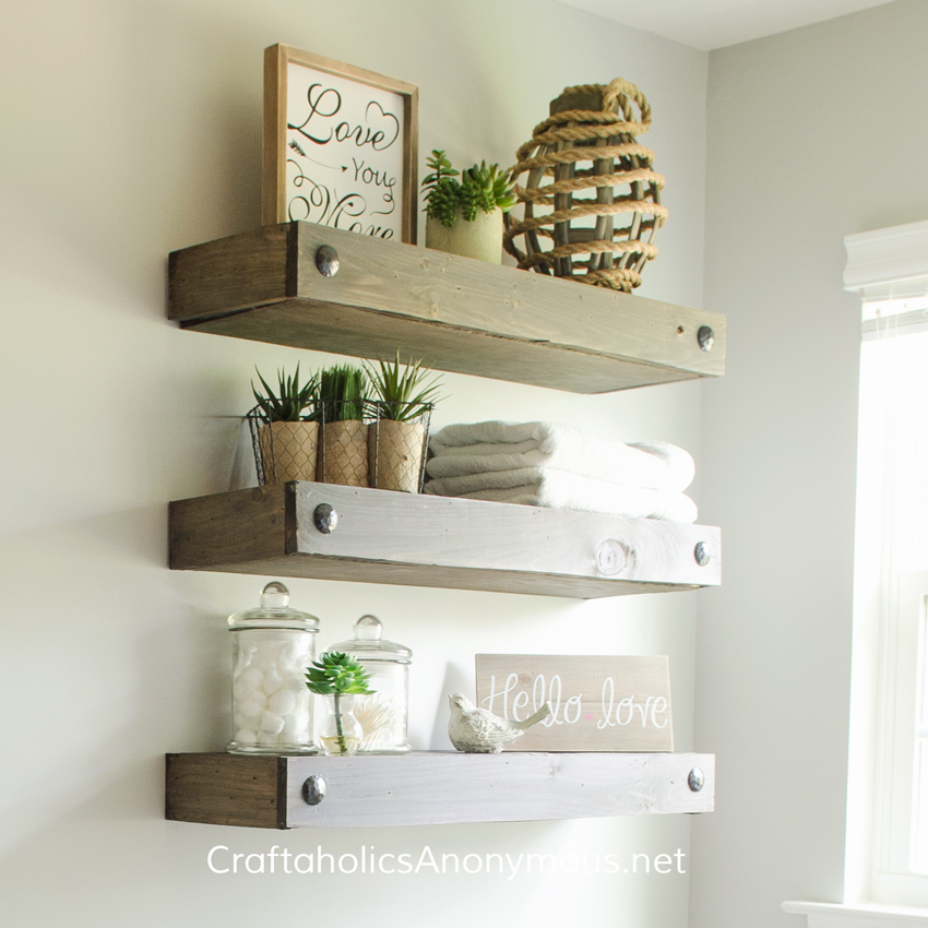 Craftaholics anonymous diy floating shelves for Diy suspended shelves