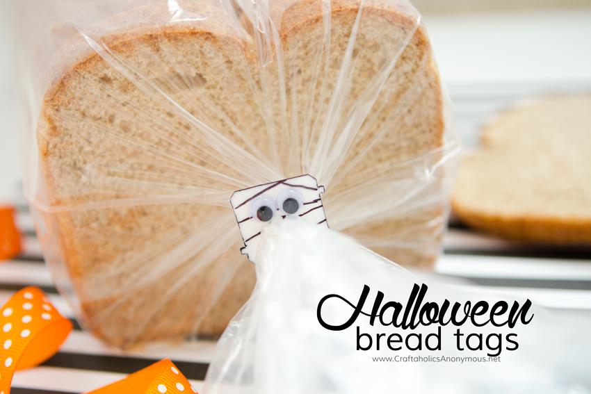 Halloween upcycle craft idea - reuse bread tags