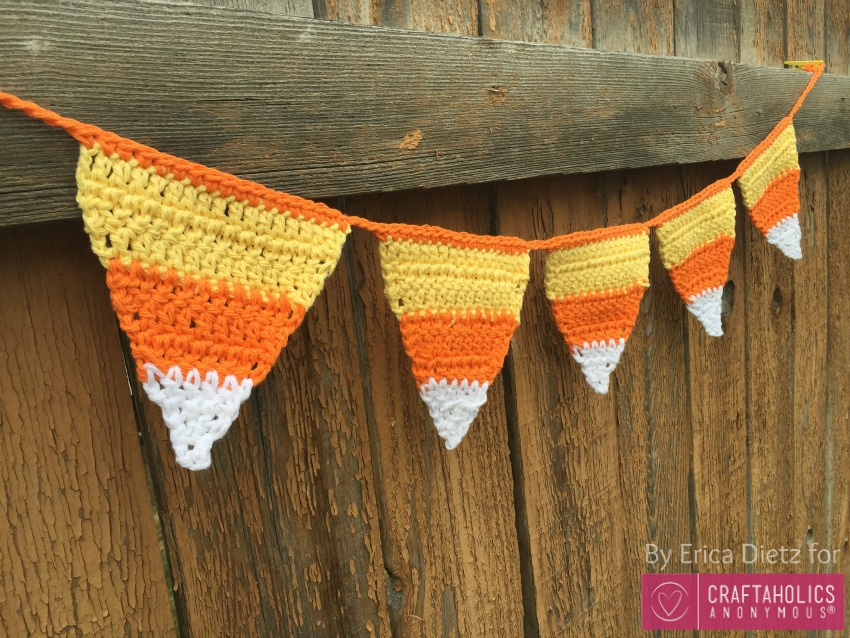 Handmade Crochet Candy Corn Halloween banner || includes free crochet pattern tutorial