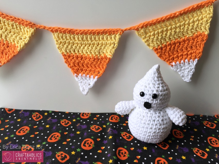 DIY Crochet Halloween Candy corn banner || Free pattern and tutorial
