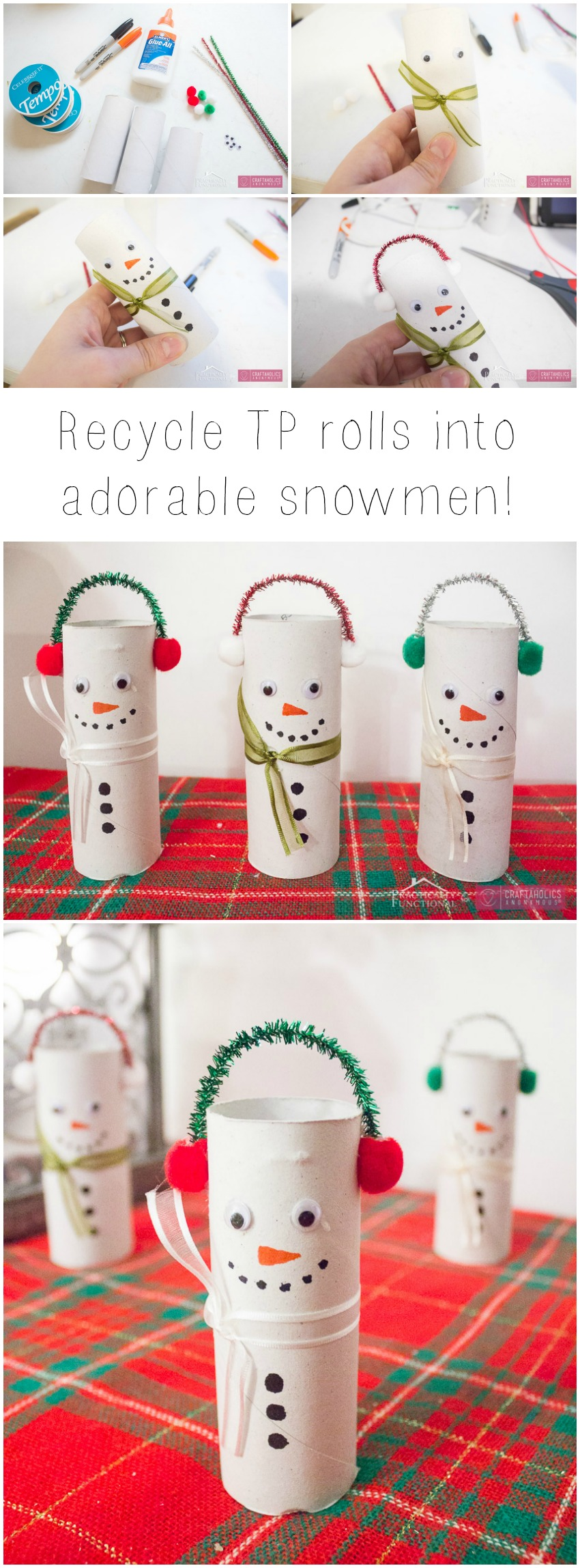 Toilet Paper roll Snowmen craft idea || Make these with the kids this winter! Make one or a whole family. They'll love personalizing them.