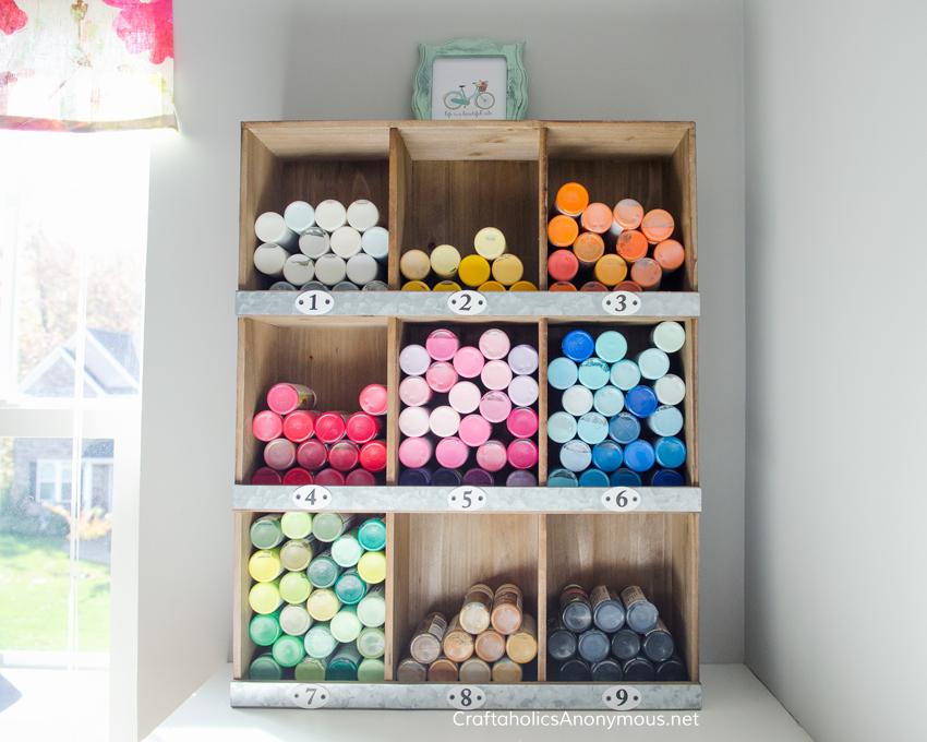 Craft Paint Storage Idea on www.CraftaholicsAnonymous.net