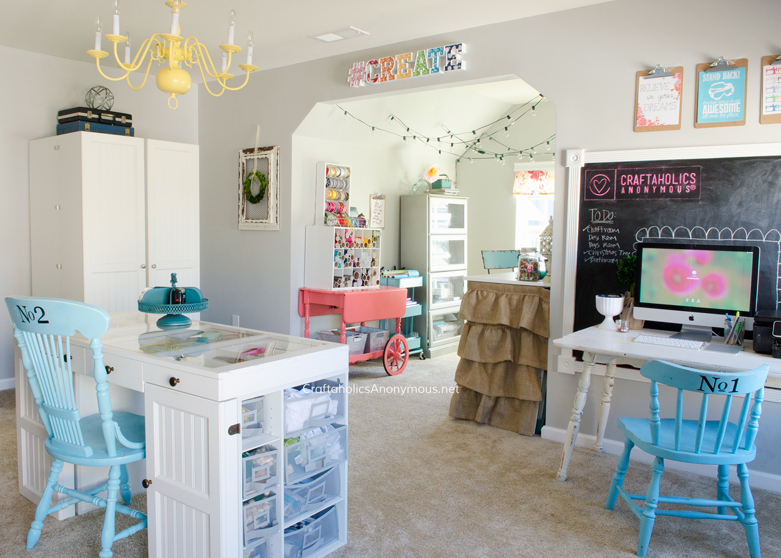 Craftaholics Anonymous® Craft Room tour on www.CraftaholicsAnonymous.net. Loads of great craft room organization ideas!
