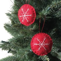 Embroidered Felt Snowflake Ornaments