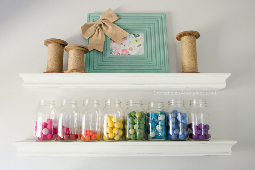 Colorful felt ball storage idea www.craftaholicsanonymous.net