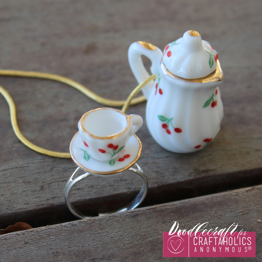 teacup tea set teapot jewelry easy diy heirloom ring necklace handmade gift (5)