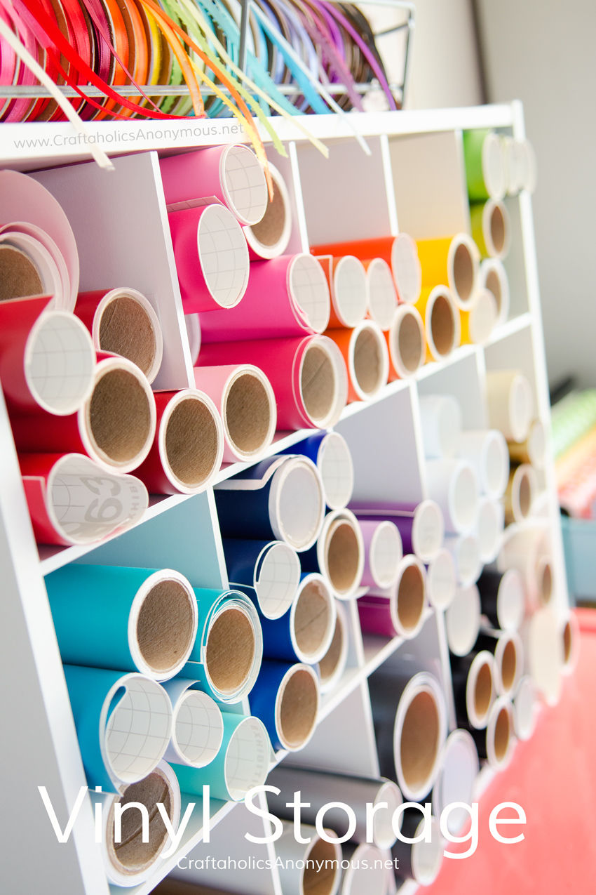 Craft Vinyl Storage idea. Use a cheap shoe rack! Lots more craft room organization ideas on www.CraftaholicsAnonymous.net