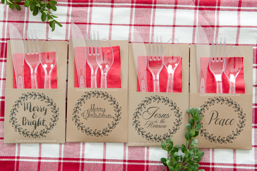 Free Printable Holiday Utensil Holders. Download this awesome print to make your own holiday utensil holders in minutes! Cute and functional. Perfect for Christmas parties!