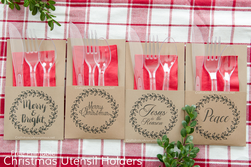 Free Christmas Printable Utensil holders. These are AWESOME for holiday parties and gatherings!