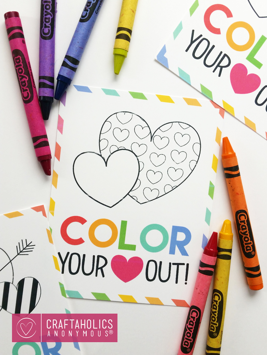 Free Kid's Valentine Printable :: Color Your Heart out! Great non-food valentine idea.