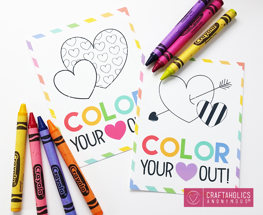 Free Valentine printable for kids :: Color Your Heart out! www.craftaholicsanonymous.net